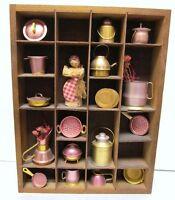 "PRICE PRODUCTS Folk Art Tin Metal Miniatures Wall Decor Pots Flowers 12"" X 9"""