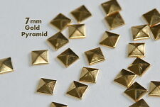 100 -  7mm Gold Flat Back Pyramid Studs - Hotfix  Iron On Metal FlatBack Glue On