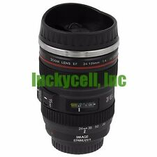 Black Canon  EF 24-105mm Camera Lens Thermos Stainless Steel Tea Mug Cup
