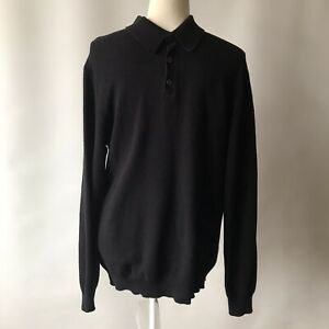 Simon Carter London Jumper Cotton Cashmere Black Collar Long Sleeve Mens L