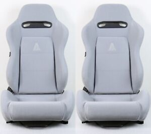 2 X TANAKA GRAY MICRO CLOTH RACING SEAT RECLINABLE + SLIDERS FIT FOR FORD RANGER