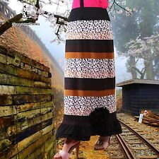 SHARON TANG Modest Apparel Long Knit Print Flower Ruffle Skirt M ST132080019-17