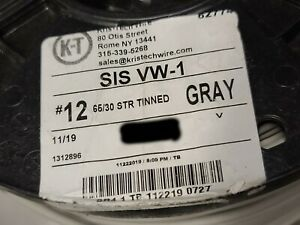 Kris Tech #12awg 65x30T SIS XHHW-2 XLPE Tinned Copper Hook-Up Wire Gray /50ft