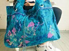 Women's Fabric Tote Bag Blue Shopper Bag Embroidered Shopping Bag Boho Gypsy bag