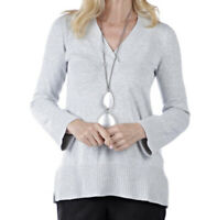 NEW MarlaWynne V-Neck Crescent Hem Pullover Sweater Pearl Heather Size Large