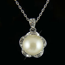 18k white Gold GF with Swarovski crystals w pearl elegant pendant necklace