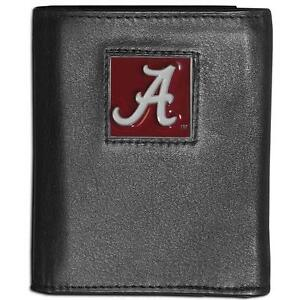 Alabama Crimson Tide Leather Trifold Black Wallet