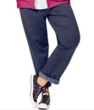 Plus Size Womens JMS Hanes Sweatpants 5X (30W-32W) PETITE Open Leg Navy Heather