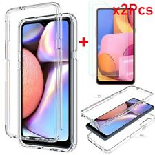 For Samsung Galaxy A10E 20 30 50 20S 21 11 01 TPU Clear Hard Case/Tempered Glass