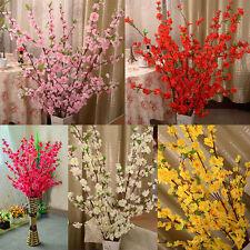 Artificial Cherry Spring Plum Peach Blossom Branch Silk Flower Tree Decor LLZG