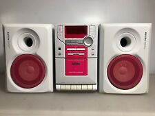 Philips MC-B311V Micro System CD Cassette Stereo Speaker Set Pink Player