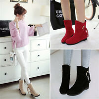 Fashion Womens Winter Boots Round Toe Suede Short Booties Hidden Heel Shoes