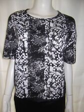 PORTMANS Womens short sleeve Black, Grey & White silky top size 10