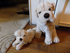 "Vtg Lot Plush Dog Tan Sharpei 1985 Prestige 15"" King Ripples & Prince Puppy  61"