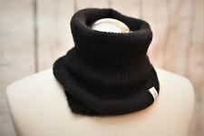 Alpaca Mohair Wool Black Men Neck Warmer Gaiter Handmade Snood Perfect Gift