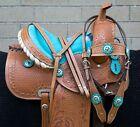 Western Leather Horse Saddle Barrel Show Pleasure Trail Youth Tack Set Used 14