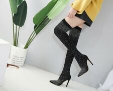 High Heeled Over the Knee Women Boots Pointed Toe Rubber Stretch Fabric Chelsea