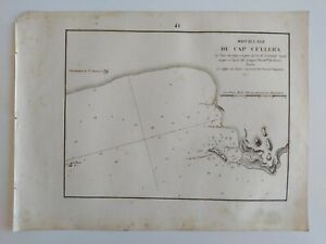 1858 Gauttier Carta Náutica Mapa Plano Cabo Faro de Cullera S. Antonio Valencia