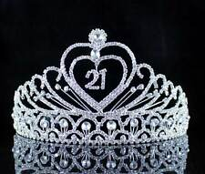 21-YEAR-OLD BIRTHDAY PARTY AUSTRIAN RHIESTONE TIARA CROWN HAIR COMBS T989 SILVER