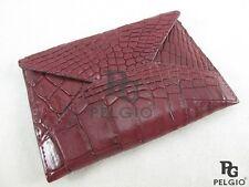 PELGIO Real Genuine Crocodile Alligator Skin Leather Card Holder Wallet Burgundy