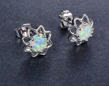 Beautiful 925 Sterling Silver White Fire Opal Round Flower Shaped Stud Earrings