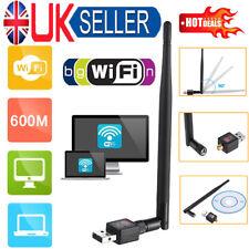 Wireless Internet Mini USB Adaptor WiFi Dongle 600Mbps For Windows PC Adapter UK