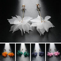 Fashion Crystal Flower Long Dangle Stud Women Elegant Ear Drop Earrings Jewelry
