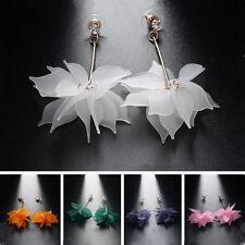 Trendy Charm Ear Stud Woman Lady Crystal Flower Drop Long Dangle Earrings