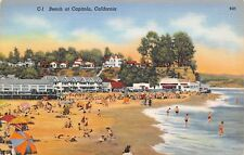 Capitola Beach CA~Kid Buried to Neck in Sand~Waders~Umbrellas~1940s Postcard PC