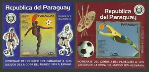 PARAGUAY 1974 SPORT FOOTBALL WORLD CUP GERMANY CARTOONS SET OF 2 M/SHEETS MNH