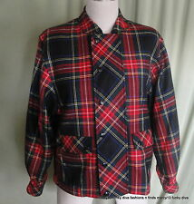 "Vintage 60's Lightweight Red Plaid Wool  Bomber Jacket  Bust 40"" Size 4"