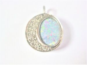 Pendant White Gold 585 With Opaldoublette And Diamonds, 2,98 G