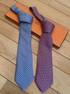 A Lot Of 2 Tie -HERMES PARIS AUTHENTIC Mens' Tie 100% Silk Made In France