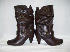 Womens Faux Leather Boots Size 7 Brown Scrunch Mid Calf Booties Buckles