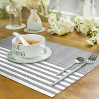 Set of 8 PVC Placemats Kitchen Dining Table Mats Non-Slip Washable Woven Gray