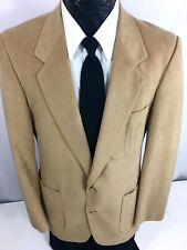 Vtg 60's Men's Mod Sport Coat Tan Brown Patch Pocket Jacket Felted Blazer 38 L