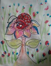 "Art Painting  original acrilyc animal coccinella flowers porta fortuna 7,5""×6 """