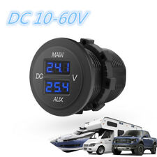 Round DC 10-60V Blue LED Digital Dual Voltmeter Car Boat Panel Voltage Monitor