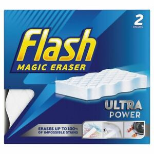 2x Flash Magic Eraser Extra Power Household Cleaner Tough Surface Stain Scrubber