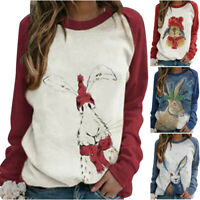 Womens Cute Rabbit Tops Loose T-Shirt Blouse Long Sleeve Basic Tee Pullover Size