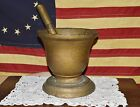 Antique 1800's Forged Iron Rx Apothecary Mortar & Pestle Old Gold Paint 10lbs