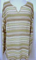 J. JILL Open Weave Linen Blend Pullover Top Textured Stripes Neutral Tones Sz L