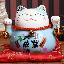 Tirelire chat Maneki neko céramique porte-bonheur Feng shui bleu succès affaires