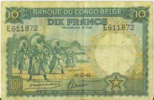 Belgian Congo 10 Francs Banque Du Congo Belge P14 B211 10.12.1941 Fine+ RARE