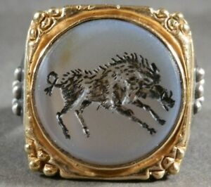 Beautiful Ancient Roman Senatorial Gold Silver Intaglio Seal Gemstone Ring Boar