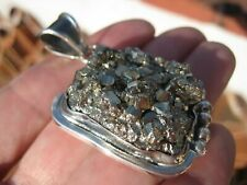925 Silver Natural Pyrite Fools Gold Pendant Necklace Taxco Mexico A576
