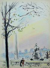 HAMBOURG andré : PARIS Place de la Concorde - LITHOGRAPHIE signée 250 ex #1950