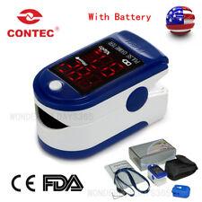 Finger tip Pulse Oximeter CMS50DL blue Rubber case Blood Oxymeter US battery FDA