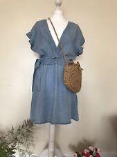 Donna Ragazze Estate Vestito Corto Jeans LUCE #blue #size 8#