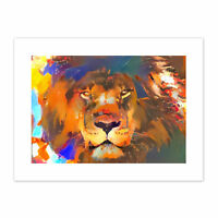 Wild Lion Colourful Abstract Canvas Wall Art Print